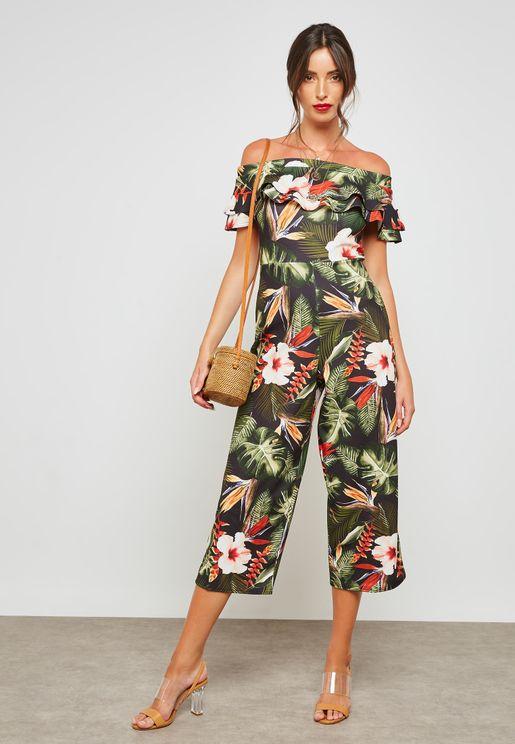 Floral Print Frill Bardot Jumpsuit