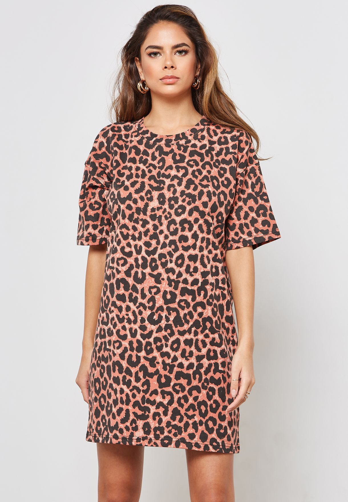 Oversized Leopard Print Short Sleeve Mini Dress