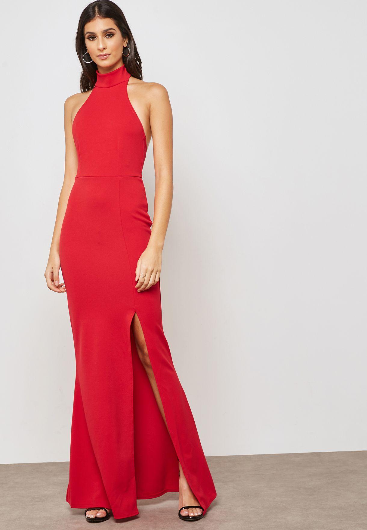 edca77d81 Shop Missguided red Halter Neck Maxi Dress DE904275 for Women in UAE ...