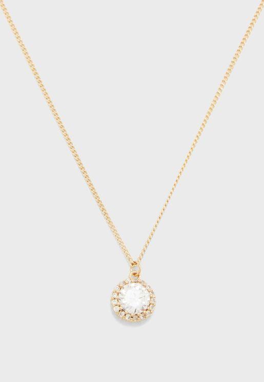 Rhinestone Halo Pendant Necklace