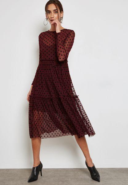 Dobby Printed Maxi Dress