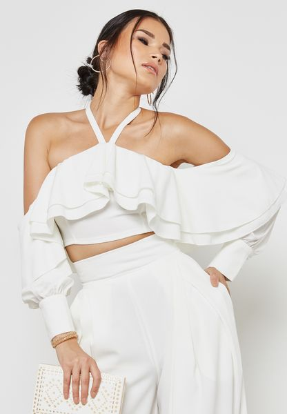 Ruffle Detail Cropped Top