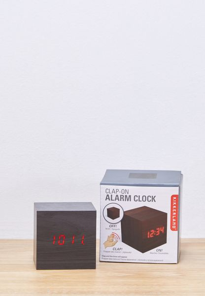 Shop Kikkerland Multicolor Dark Wood Alarm Clock Cube AC22 DK EU For Women  In Oman   KI462AC67EQQ