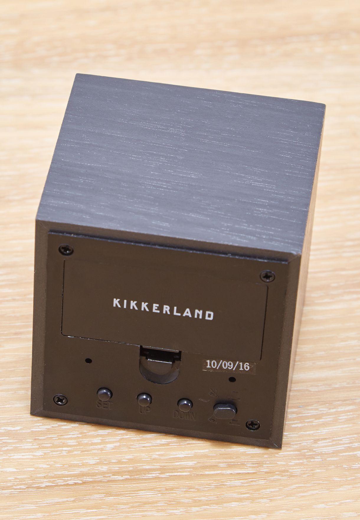Dark Wood Alarm Clock Cube