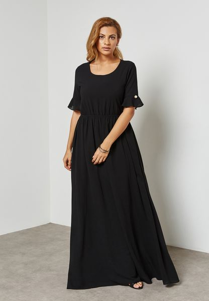 Ruffle Pearl Detail Maxi Dress