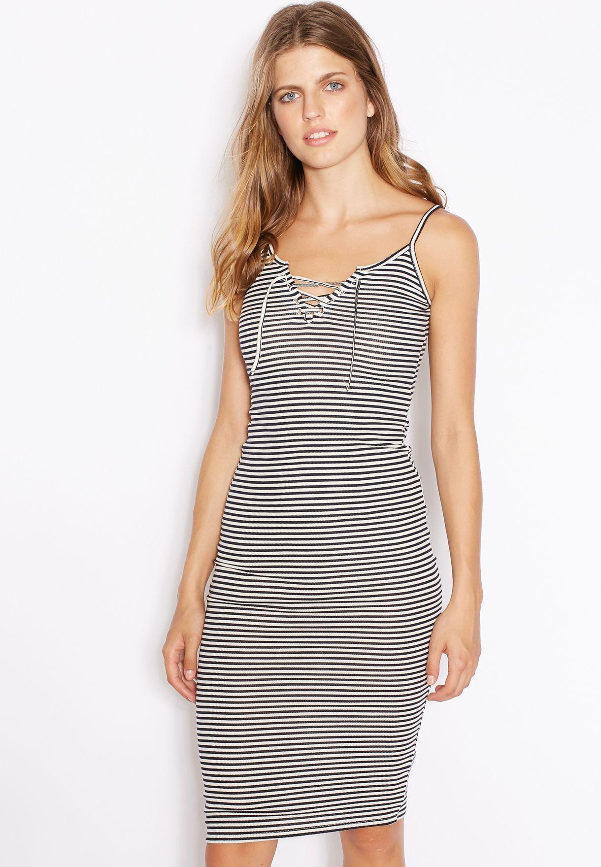 ad38edf99c1 Shop Topshop prints Striped Lace Up Midi Dress 10D06KNAV for Women ...