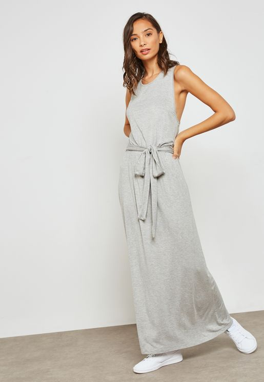 Racer Back Self Tie Maxi Dress