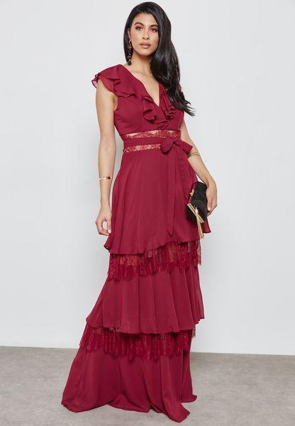 Lace Insert Ruffle Self Tie Dress