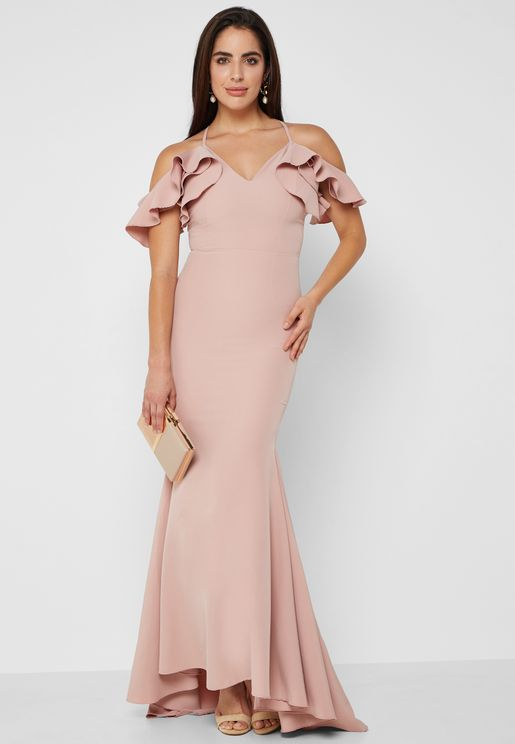 Ruffle Cold Shoulder Fishtail Maxi Dress