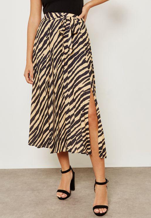 Tiger Print Pleat Detail Skirt