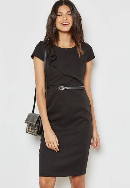 Ruffle Detail Belted Pencil Dress