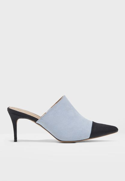Toe Cap Pointed Heeled Mules