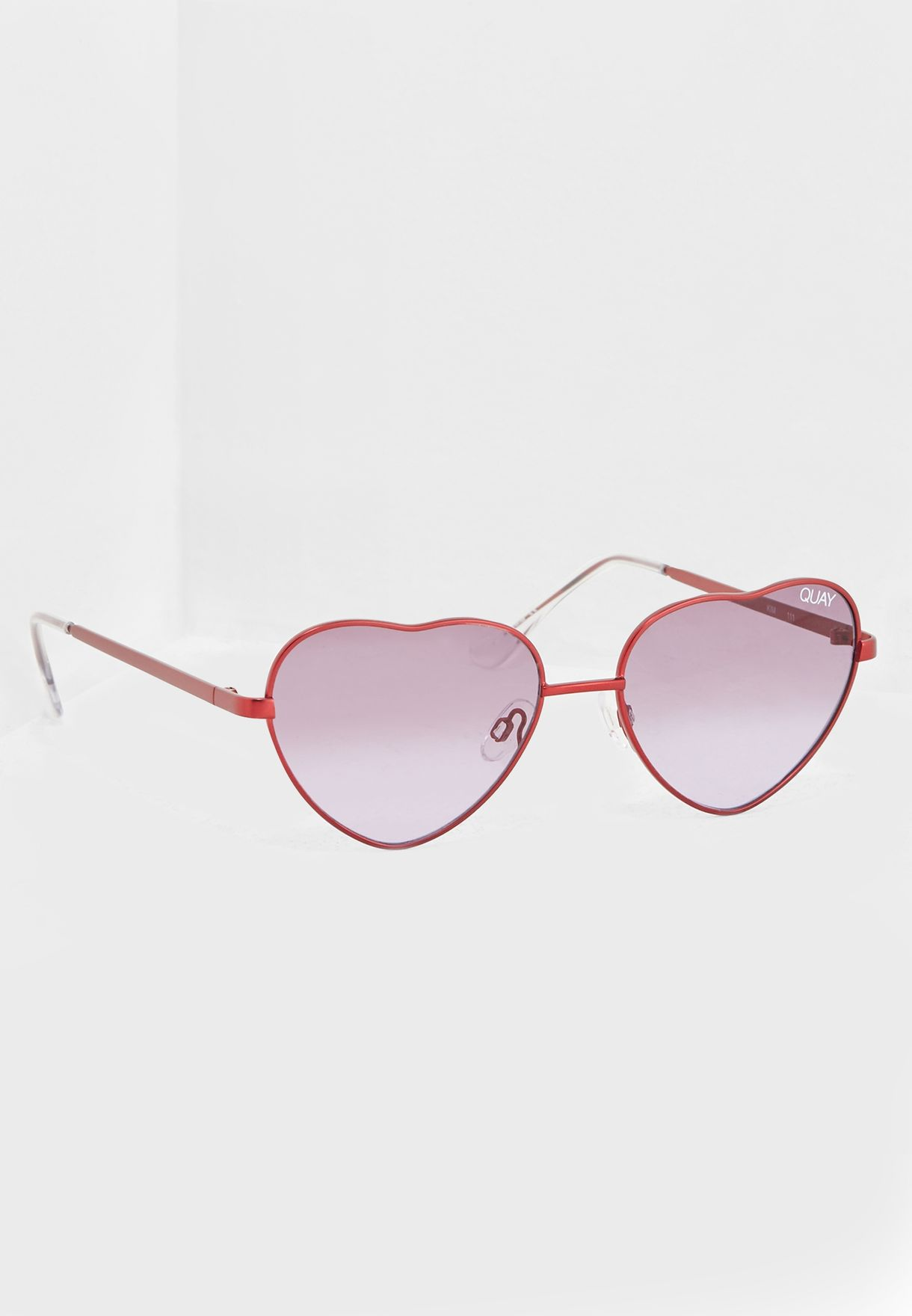 4a172225bcfa3 Shop Quay Australia burgundy Kim Heart Sunglasses QW-000401-RED ...
