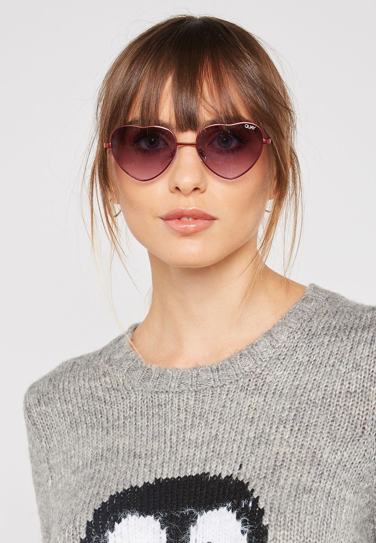 825eb98283 Shop Quay Australia burgundy Kim Heart Sunglasses QW-000401-RED ...