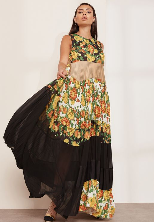 Tiered A-line Floral Pleated Dress