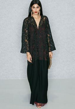 Sheer Lace Embellished Top Abaya