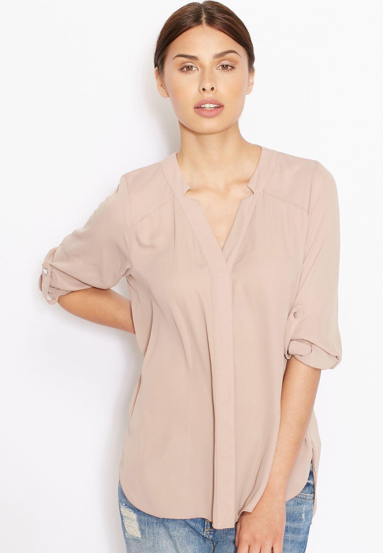 9ac34f48368 Shop Dorothy Perkins beige Roll Sleeve Notch Neck Shirt 05622920 for ...