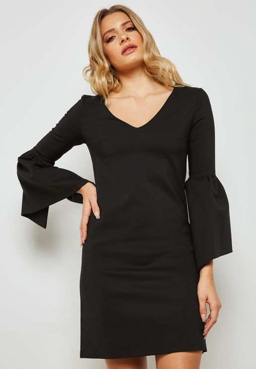 Flute Sleeve Mini Dress