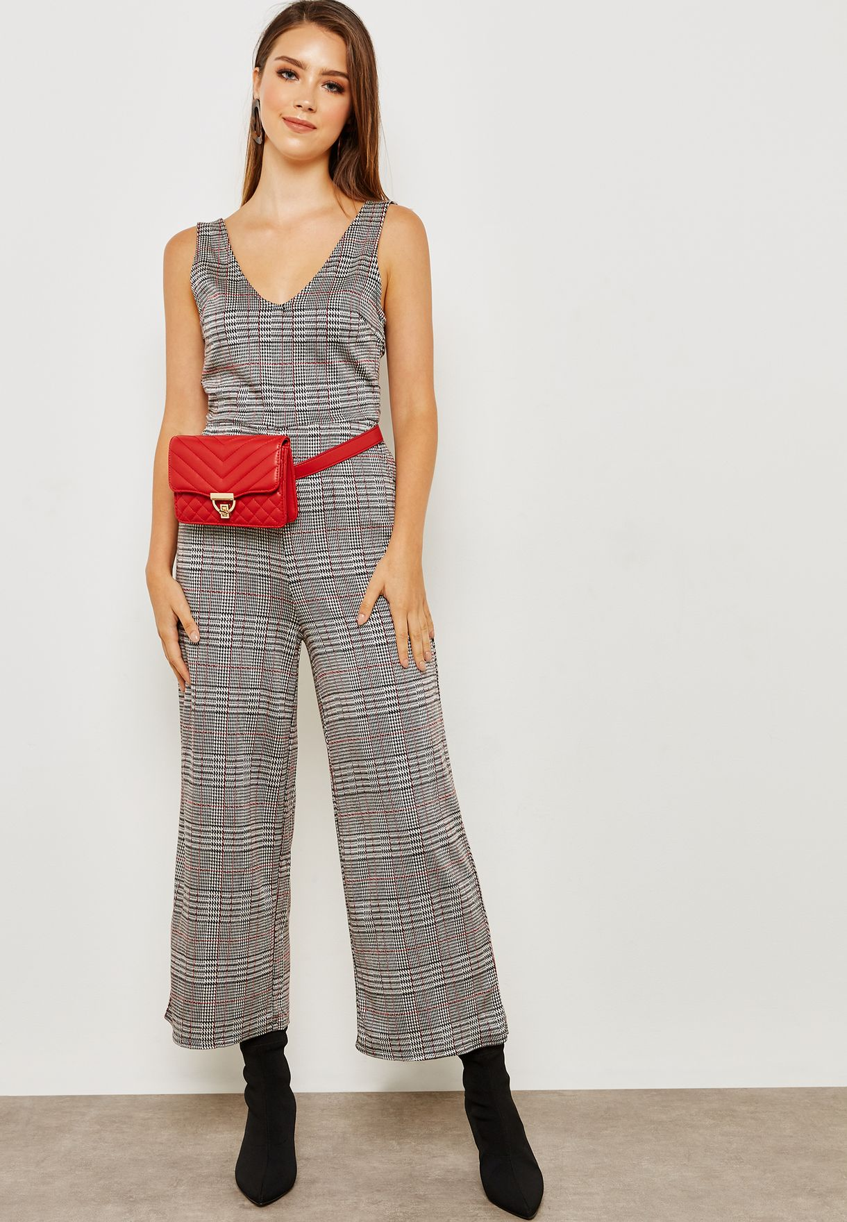 6dd7b4f2ba0 Shop Forever 21 grey Checked Wide Leg Jumpsuit 286853 for Women in Oman -  FO057AT67PFO