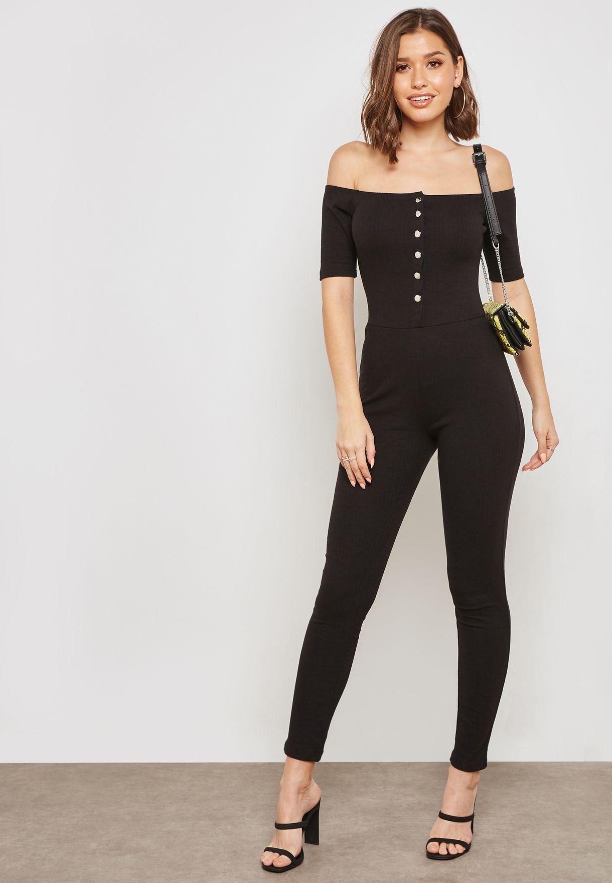 265de0354a5 Shop Missguided black Popper Front Bardot Jumpsuit M9903777 for Women in  Oman - MI669AT67ZUQ