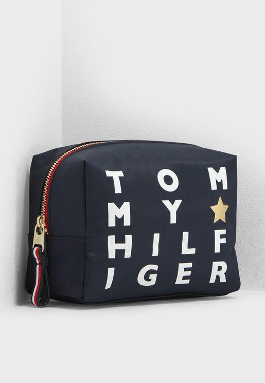Poppy Logo Print Cosmetic Bag