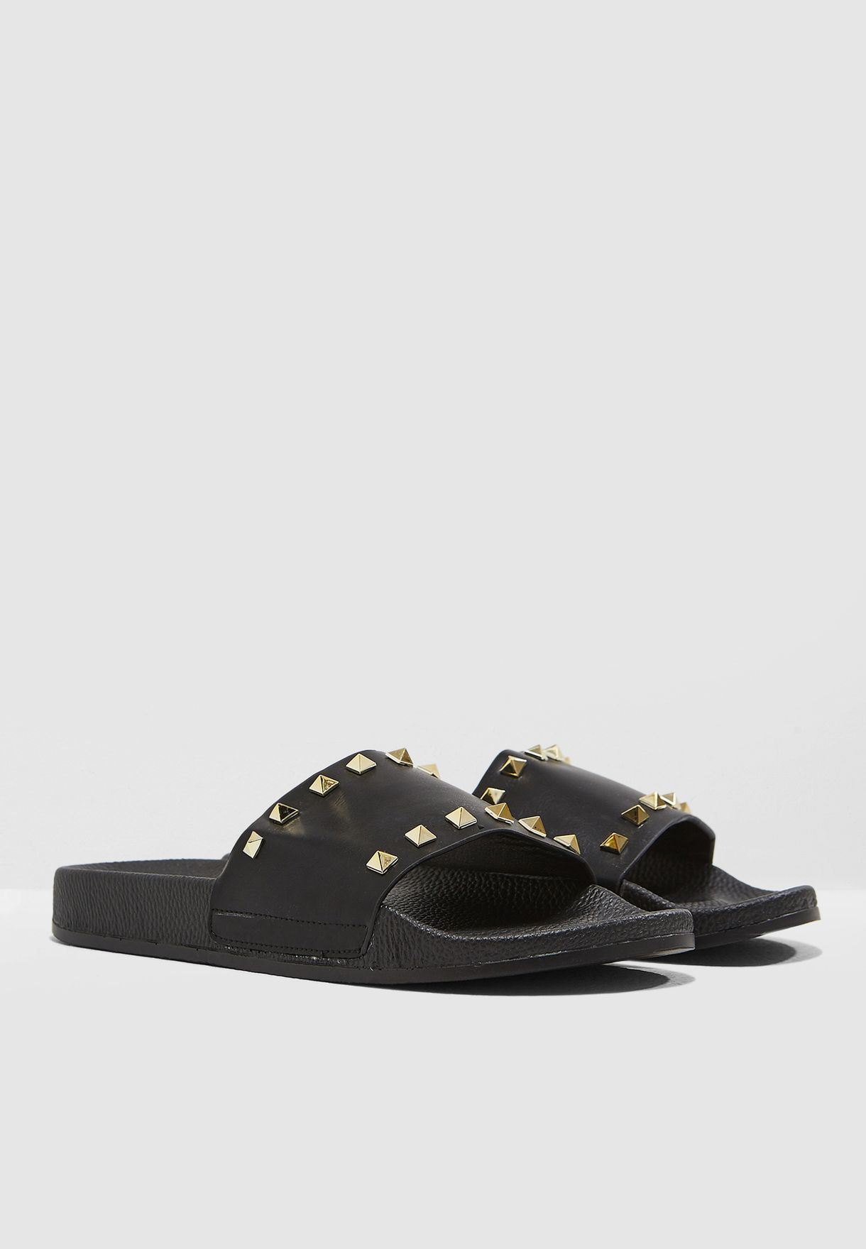 36bcf293b Shop Coco black Amber Studded Slides 651-1 for Women in UAE ...