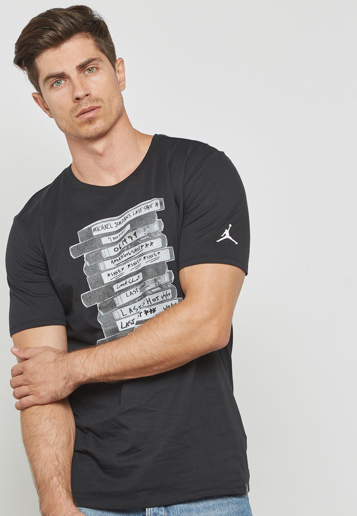 ecce19c56da Shop Nike white Jordan Last Shot Graphic T-Shirt AO2623-010 for Men ...