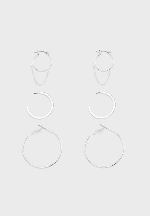 Pack of 3 Drapey Hoop Earrings