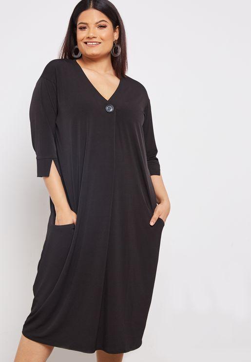 V-Neck Cocoon Dress