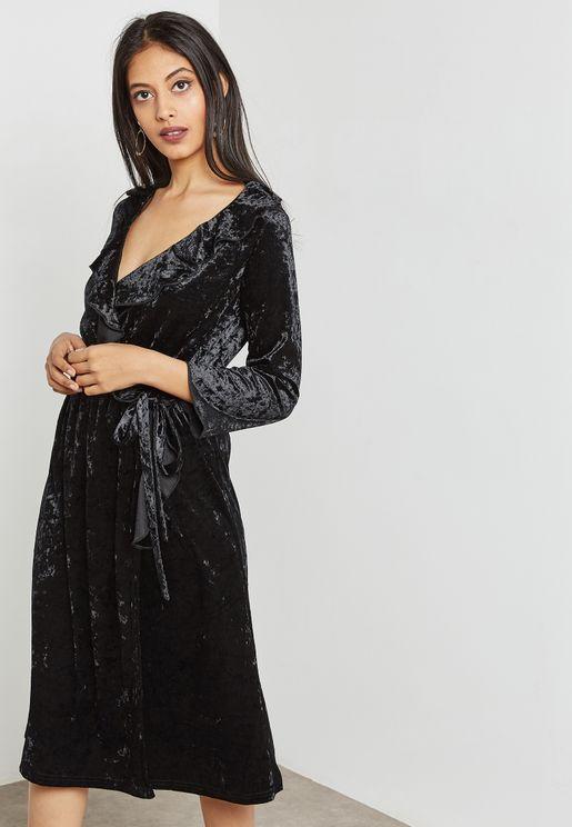 Wrap Front Ruffle Velvet Midi Dress
