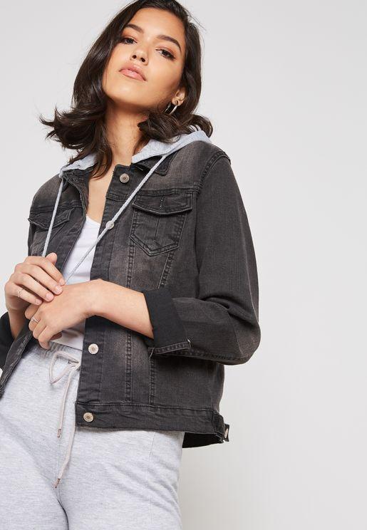 Contrast Hood Denim Jacket