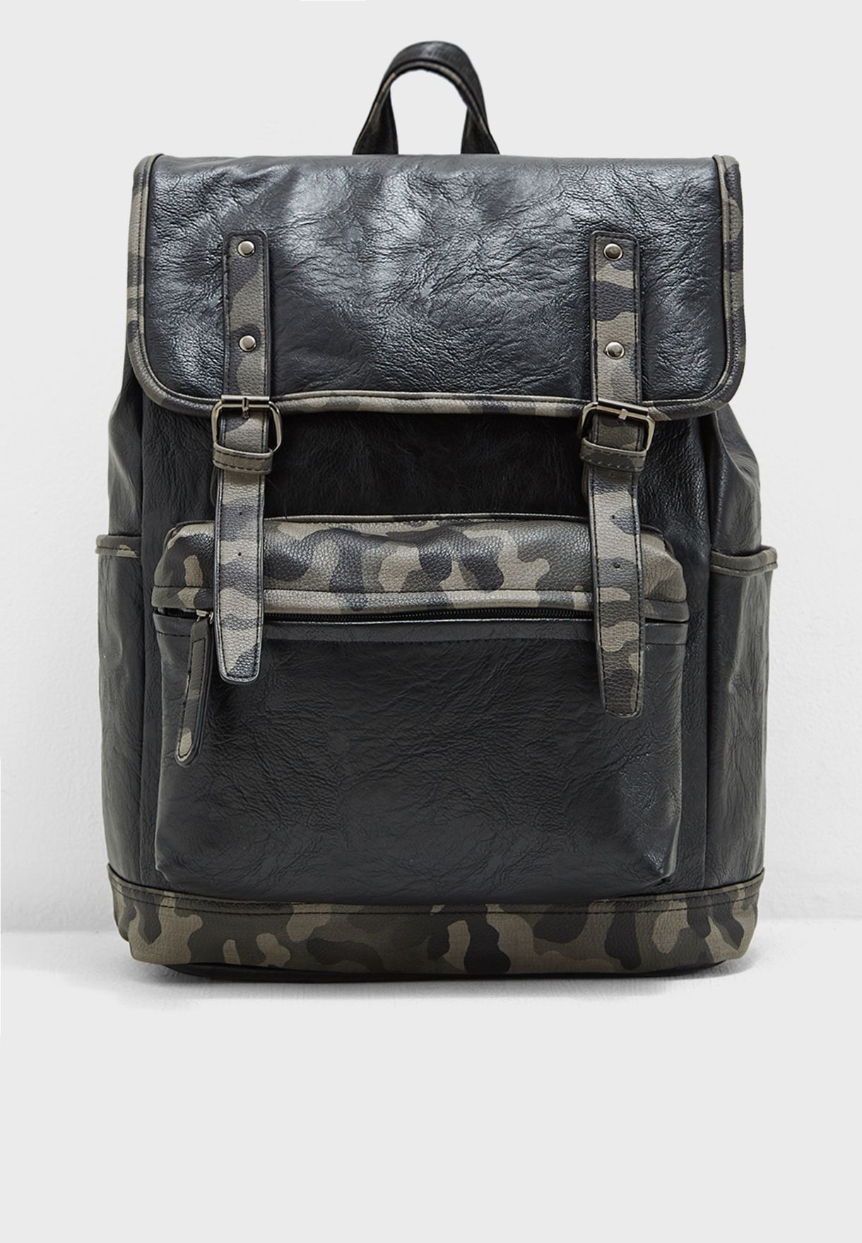 Camo Flap Over Laptop Sleeve Backpack
