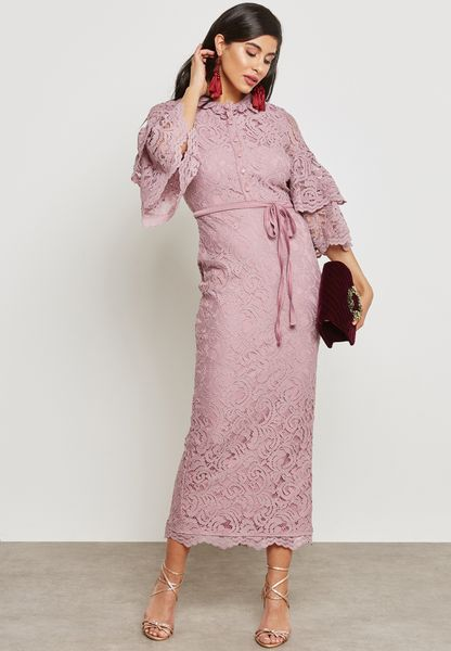 Tiered Sleeves Lace Dress