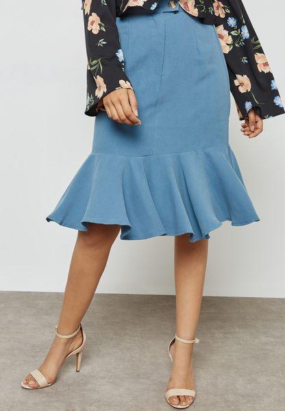 Ruffle Hem Detail Waist Skirt
