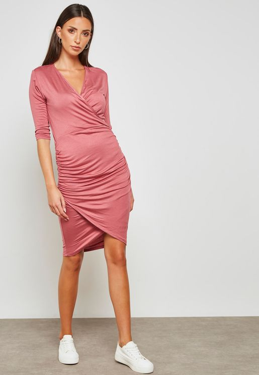 Wrap Front Draped Mini Dress