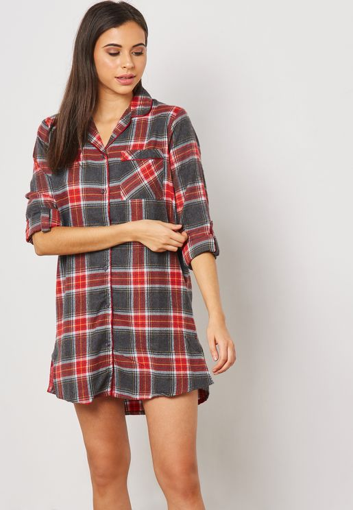 Roll Sleeve Checked Nightdress