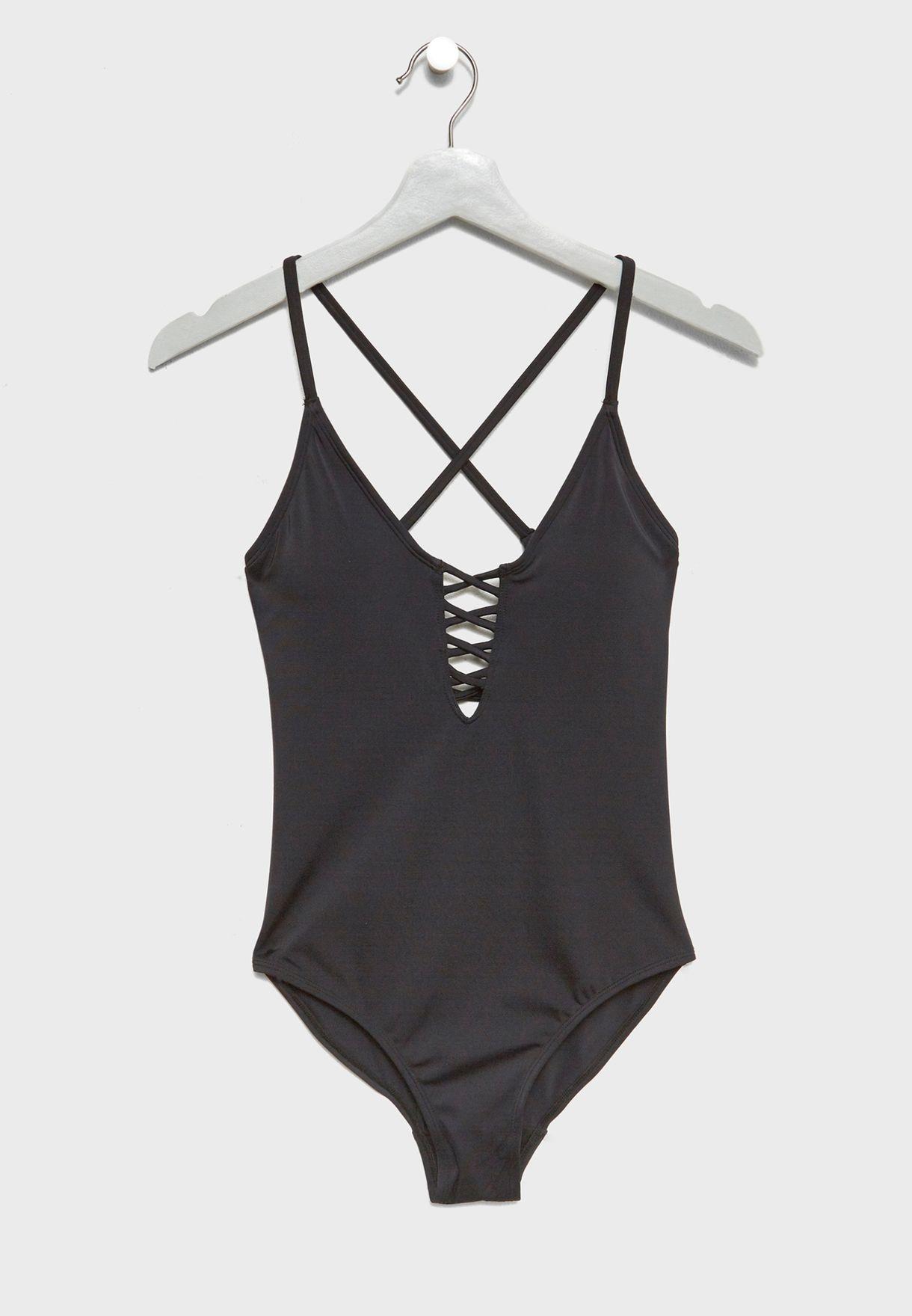 4ecf3ad98c61 Shop Dorina black Criss Cross Swimsuit D00065M-V00 for Women in UAE ...