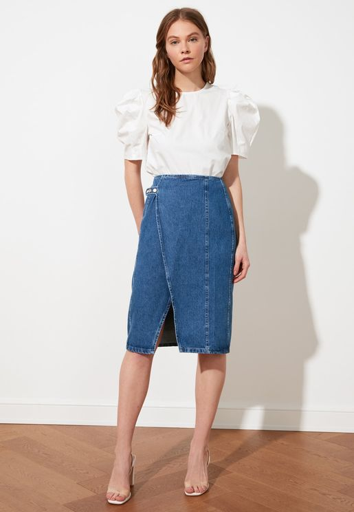 Button Detail Denim Midi Wrap Skirt