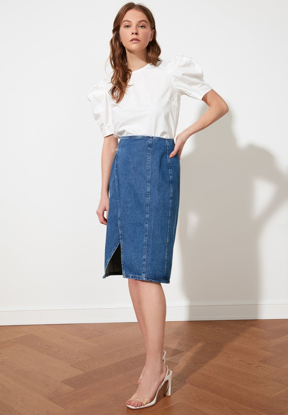 Button Detail Denim Midi Wrap Skirt