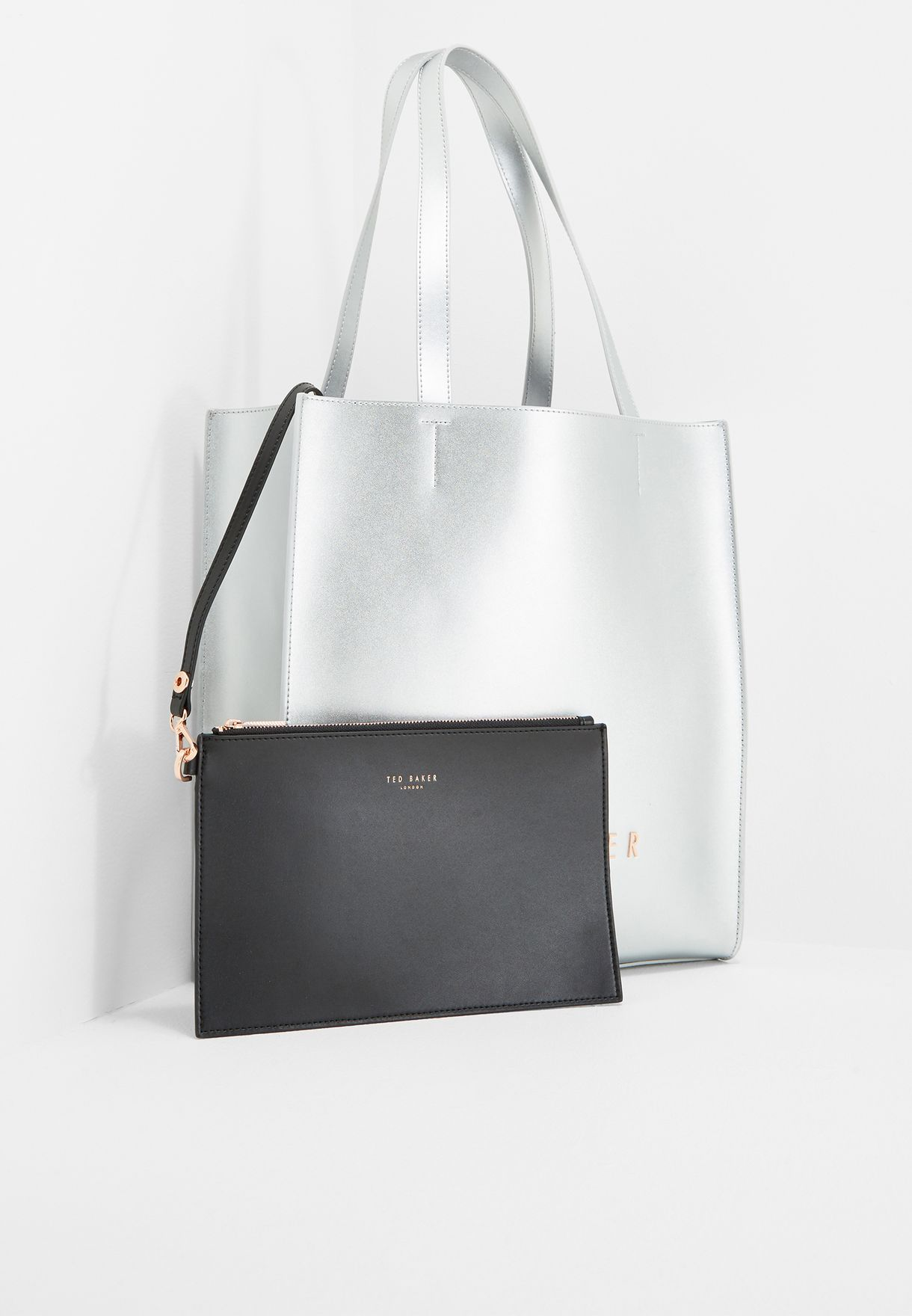 e1aa8be2a Shop Ted baker silver Statement Letters Shopper XB88 ELISSA for Women in  UAE - TE456AC67RYY