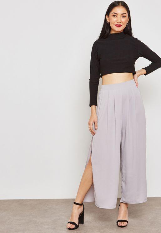 Side Slit Wide Leg Pants