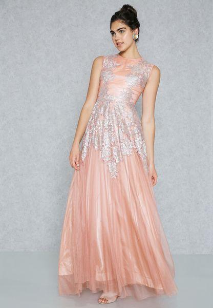 Lace Applique Top Maxi Dress
