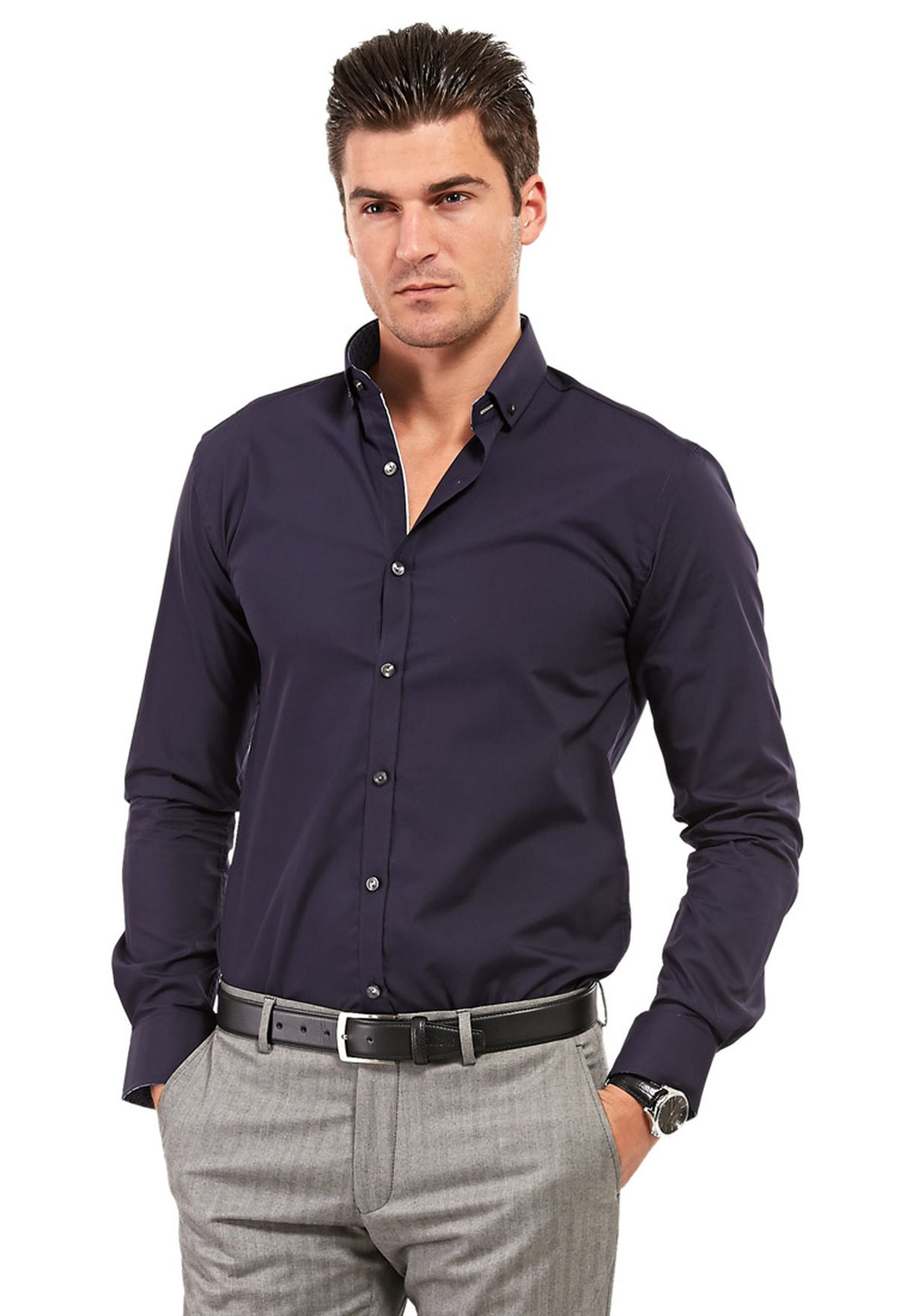 e8d20be2 Shop Selectedhomme navy One Mix Mile Shirt Ls Noos F for Men in ...