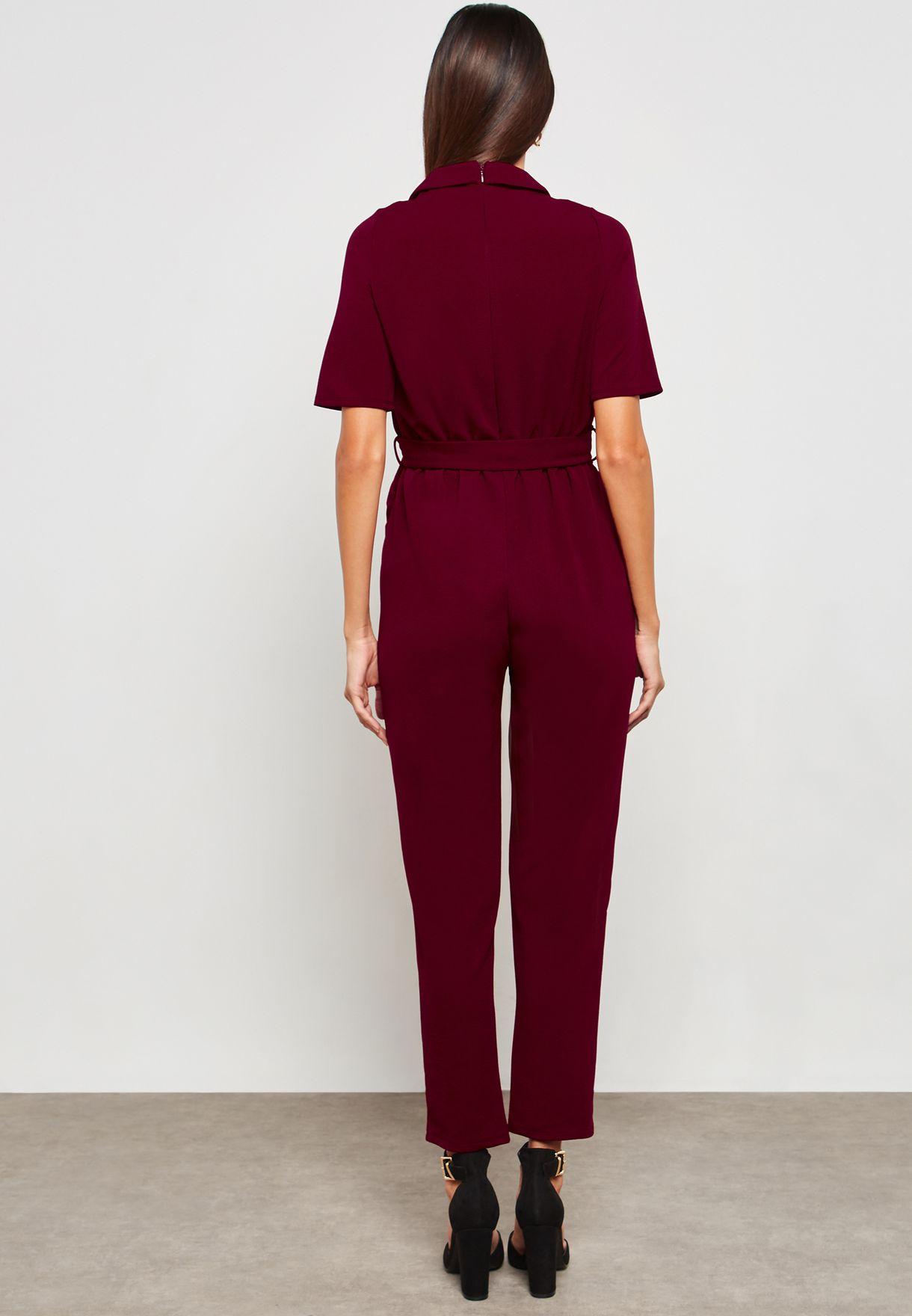 0b74a3d483fac Shop Dorothy Perkins Maternity red Tie Waist Wrap Jumpsuit 17383812 ...