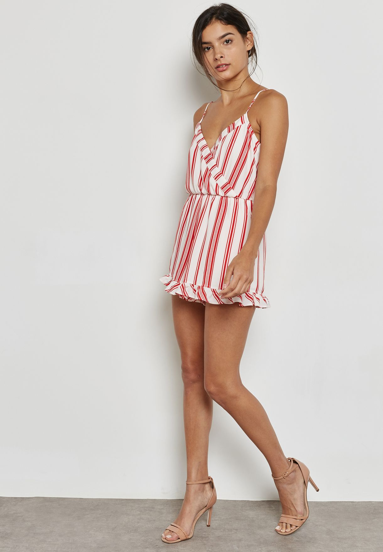 Striped Plunge Neck Playsuit