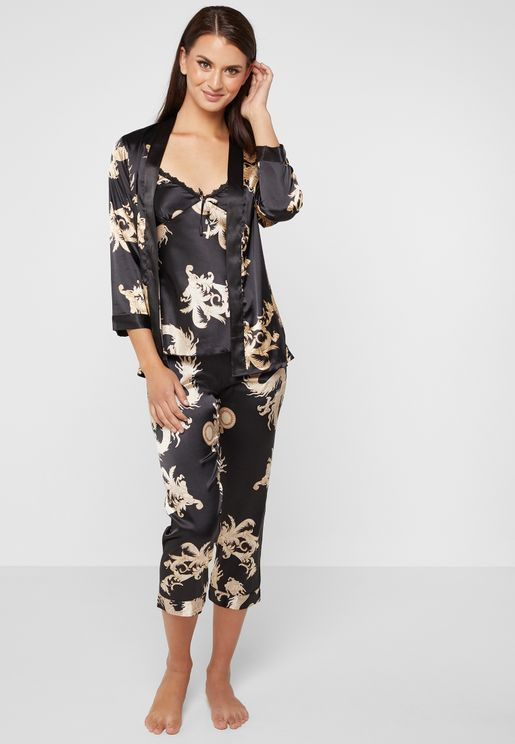 b98e5035e51 3 In 1 Printed Robe Pyjama Set