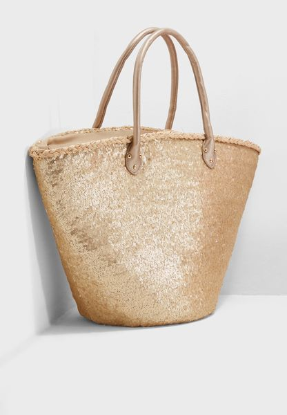 Sequin Straw Basket Tote