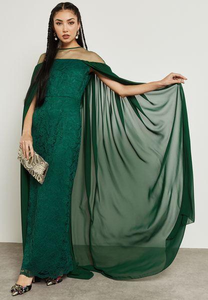 Sheer Yoke Lace Cape Dress