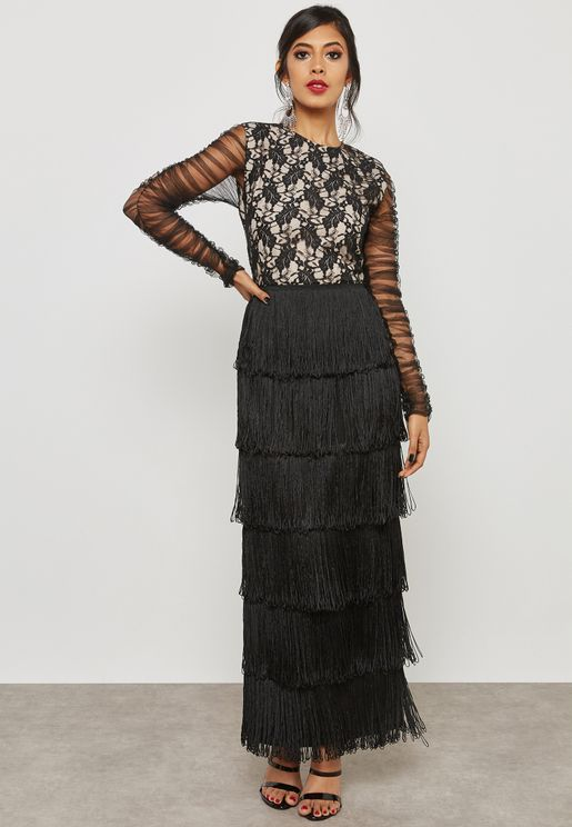 Tiered Fringed Lace Dress