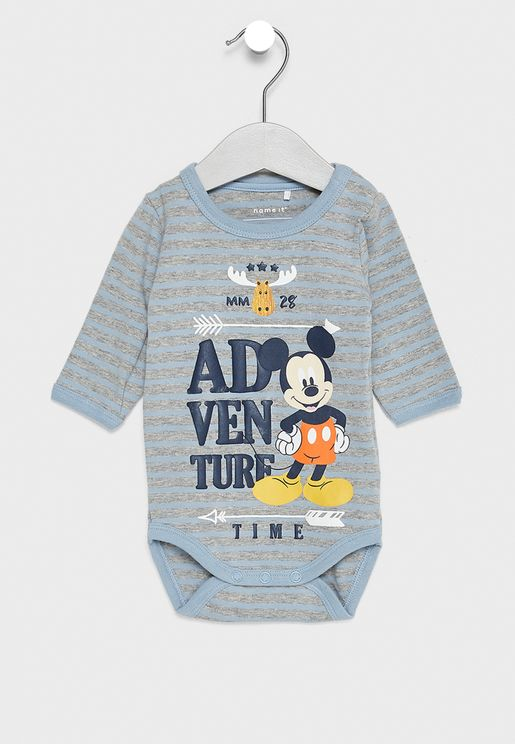 Infant Striped Mickey Bodysuit